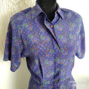 Retro Collared Shirt Dress Multi Color Paisley
